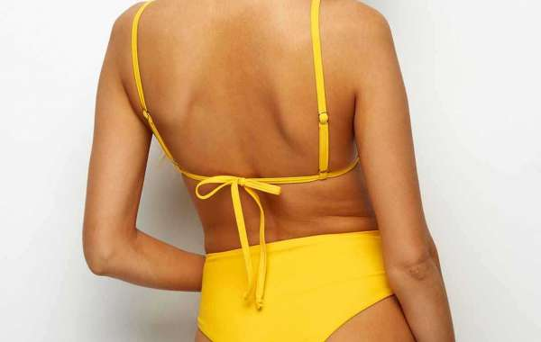 Yellow V-Neck Sleeveless Plain Spaghetti Strap Bikini Swimsuit
